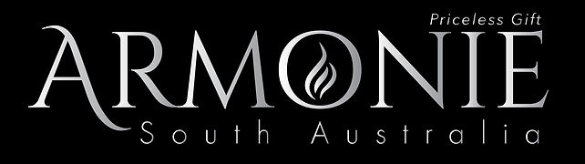 armonie south australia adelaide armonie logo with black background and silver writing, and the letter o has a silver flame image within the letter