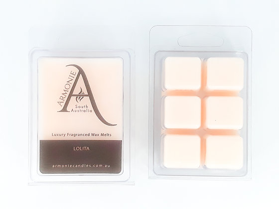 lolita wax melts pack clamshell 6 cubes fragranced wax melts with armonie logo label