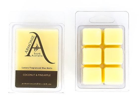 coconut and pineapple with a light yellow wax melts pack clamshell 6 cubes fragranced wax melts with armonie logo label