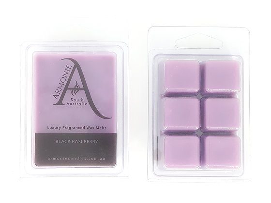 black raspberry scented wax melts pack clamshell 6 cubes fragranced wax melts with armonie logo label
