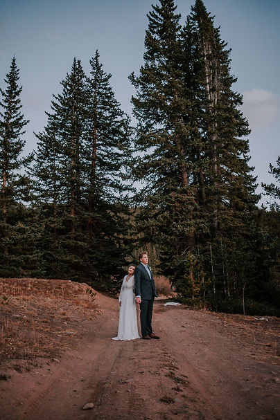 Bride and groom holding hands in the woods, pine forest bridal portraits, Colorado mountain elopement, mountain elopement photography
