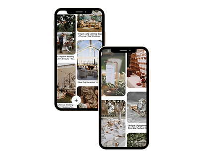 Phone screen showing a Pinterest feed, wedding ideas and inspiration, wedding ideas on a phone screen