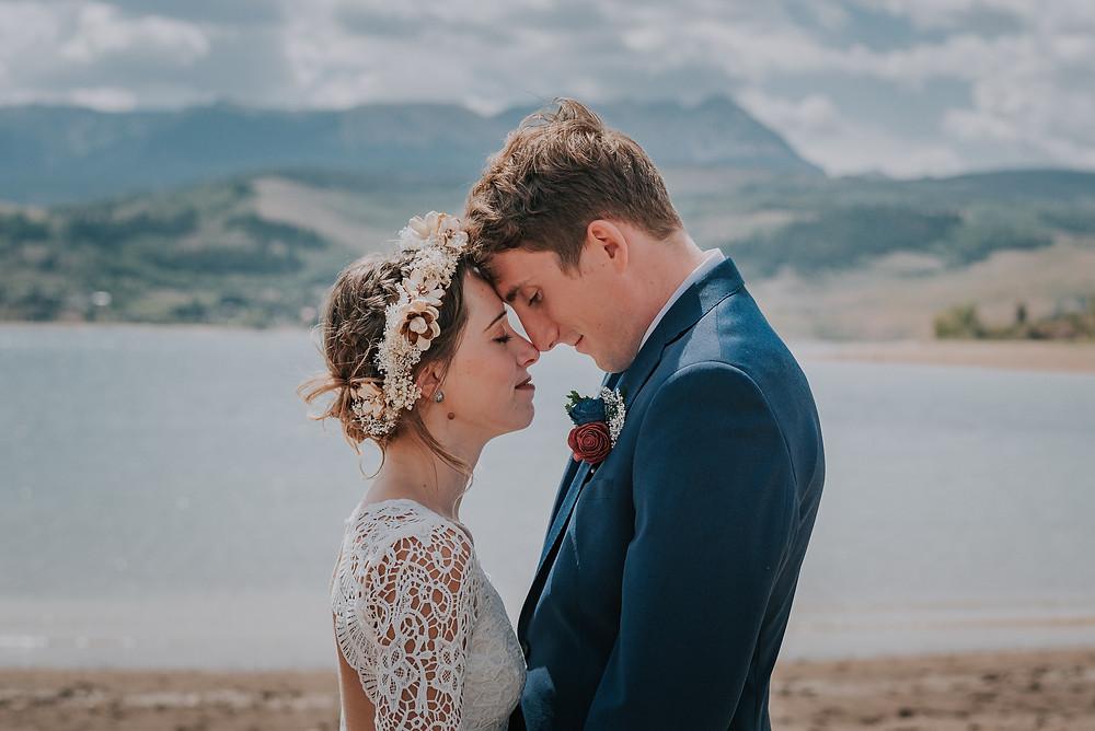 Romantic Bride and Groom beside Green Mountain Reservoir in Heeney, Mountain Elopement Destination