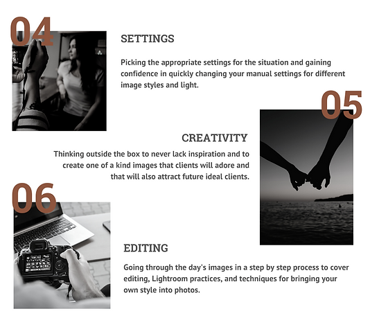 List of photography education topics, manual settings for photography, creative ideas for photographers, editing images for photographers, photography mentorships