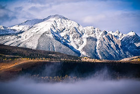 Snowy mountains in the Gore Range near Silverthorne, CO