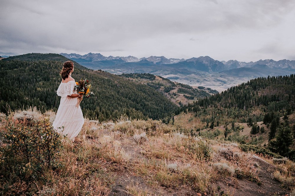 Boho Bride on Ute Pass in Silverthorne, Mountain Top Adventure Elopement Location