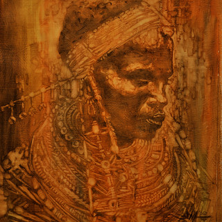 Tribal Woman - 11x14 Oil wash on satin -