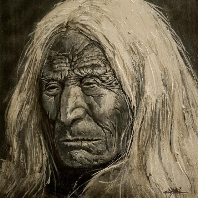 Native Elder - 12x12 Acylic on panel