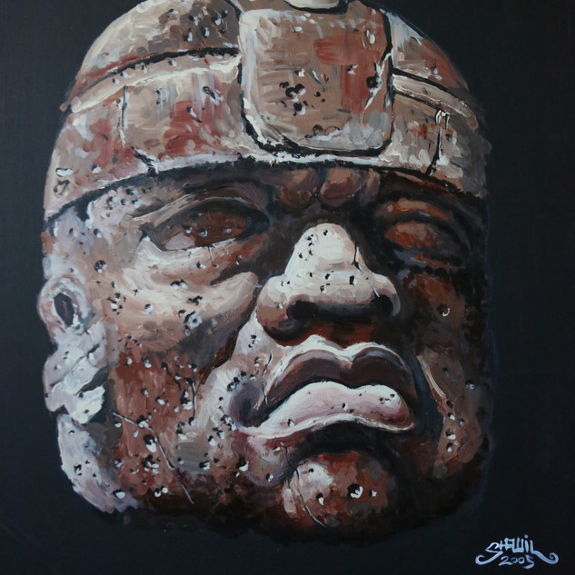 Olmec Head - 22x24 Acrylic on panelboard