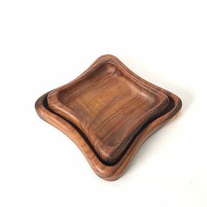 Wooden Squar Plates - 2 Pcs