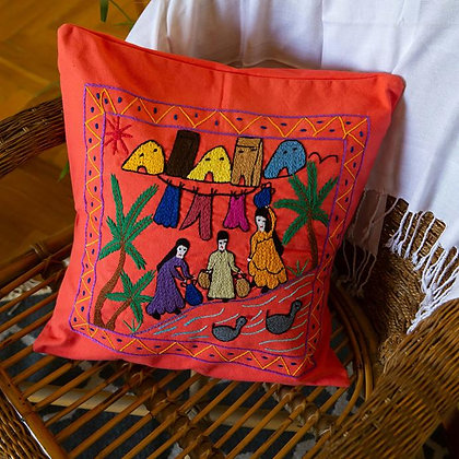 Rural Embroidered Cushion