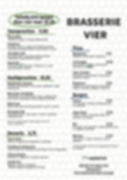menu brasserie VIER