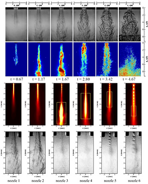 Schlieren, CH* and IR imaging of reacting jet