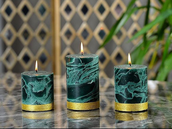 Kreamaison Mermer Yeşil Mum 10x12cm