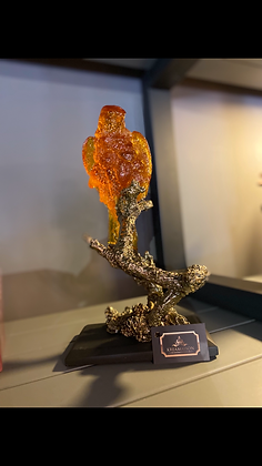 Amber Altın Papağan Obje