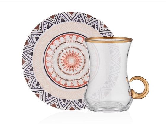 Ethnic 12 Parça Kulplu Çay Takımı