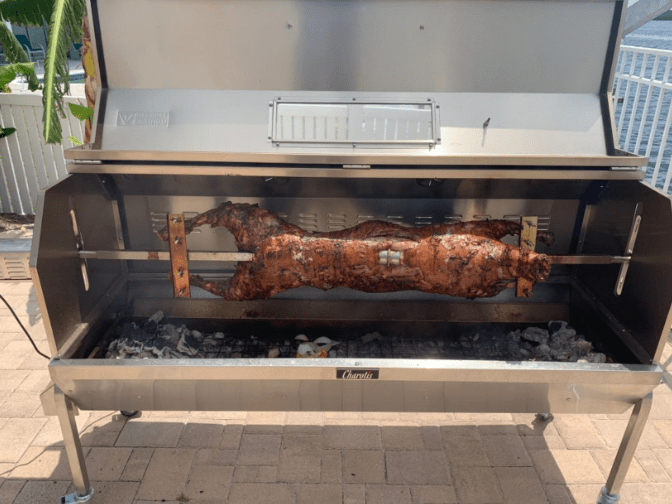 Cooking with the Charotis 62 inches SSGC1-XL Propane and Charcoal Rotisserie Grill
