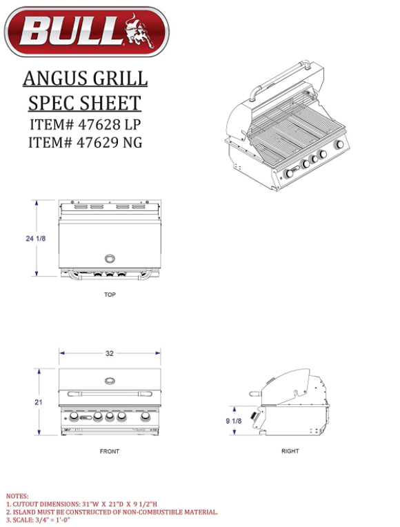 Build Information / Spec Sheet of the Bull Outdoor Products BBQ 47629 Angus 75,000 BTU Grill Head with Rotisserie