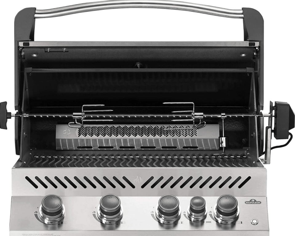 The Napoleon BIP500RBPSS-3 Built-in Prestige 500 RB Propane Gas Grill Head with Rotisserie Accessories installed