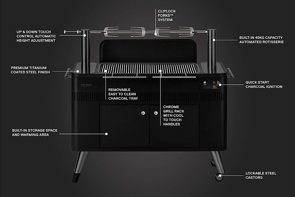 Features and Functions of the Everdure HUB II 54-inch Charcoal Rotisserie Grill