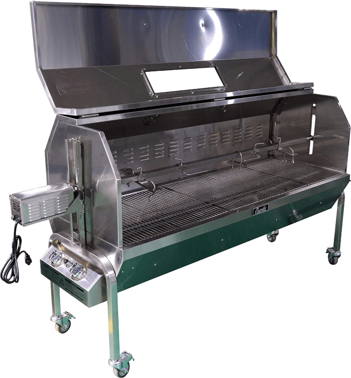 With the lid open - Charotis 62 inches SSGC1-XL Propane and Charcoal Rotisserie Grill