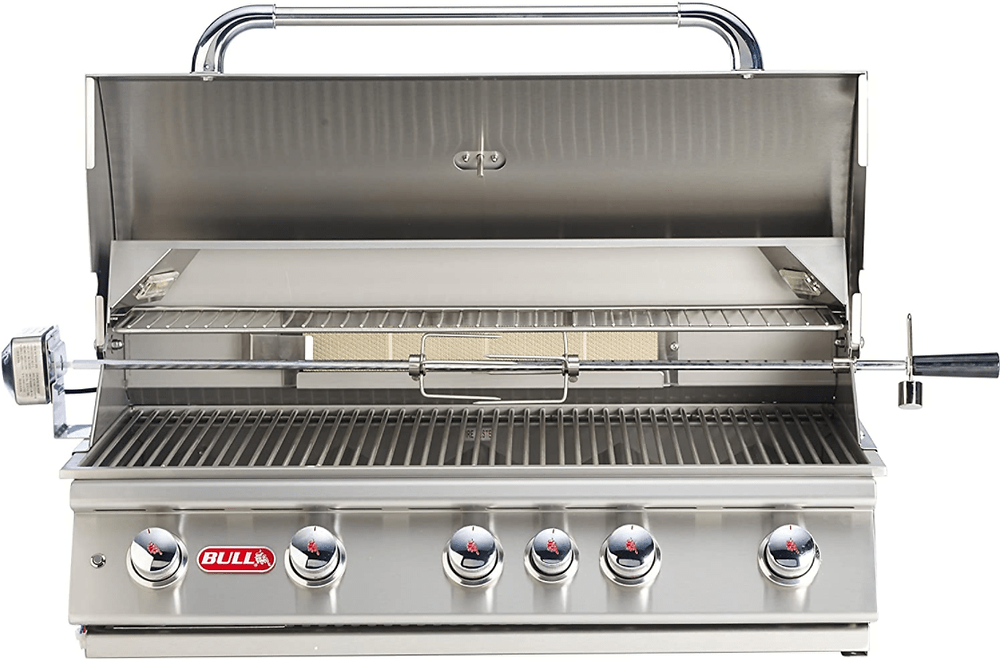 The Bull Outdoor Products BBQ 57568 Brahma 90,000 BTU Grill Head with Rotisserie Accessories installed