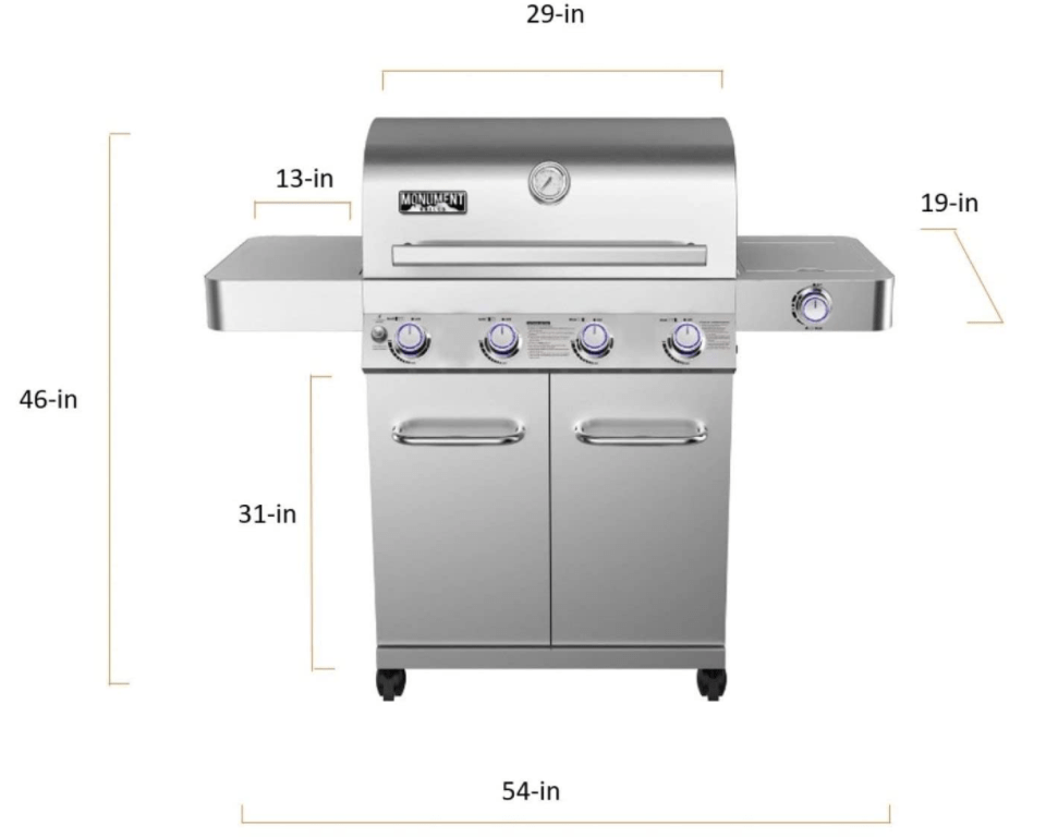 Build and Dimensions of The Monument Grills 17842 Stainless Steel 4 Burner Propane Gas Grill with Rotisserie Top Gas Grills with Rotisserie
