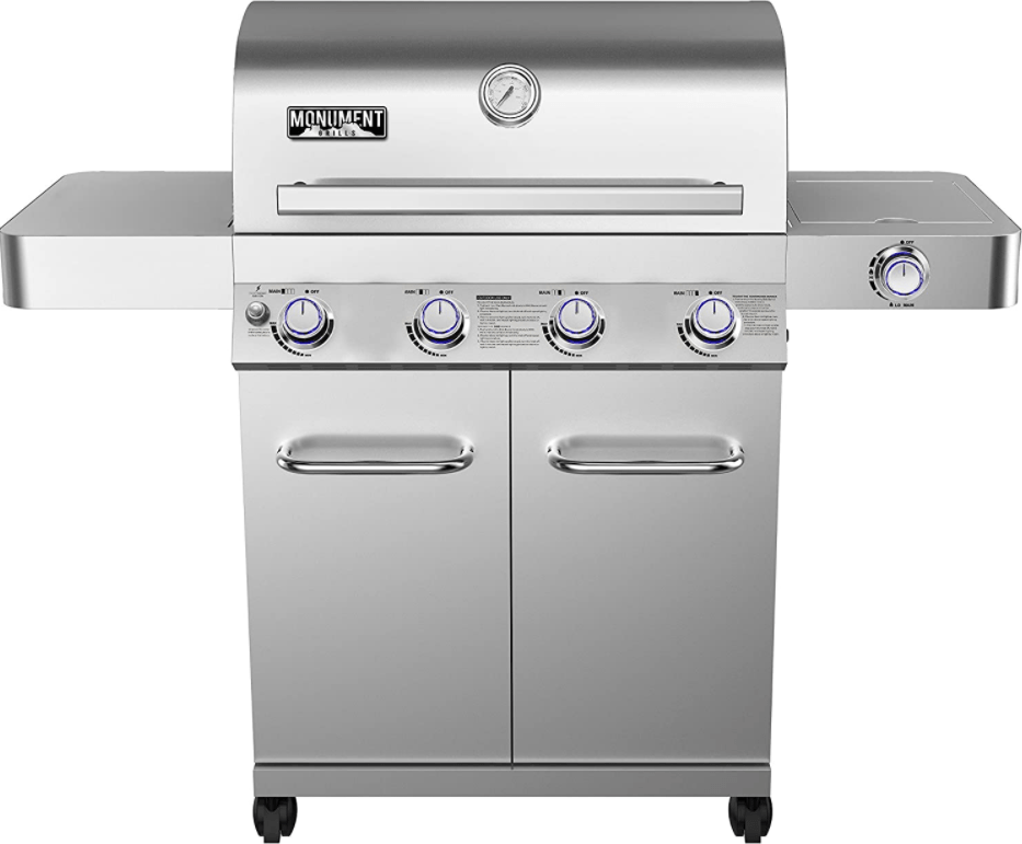 Monument Grills 17842 4-Burner Propane Gas Grill with Rotisserie