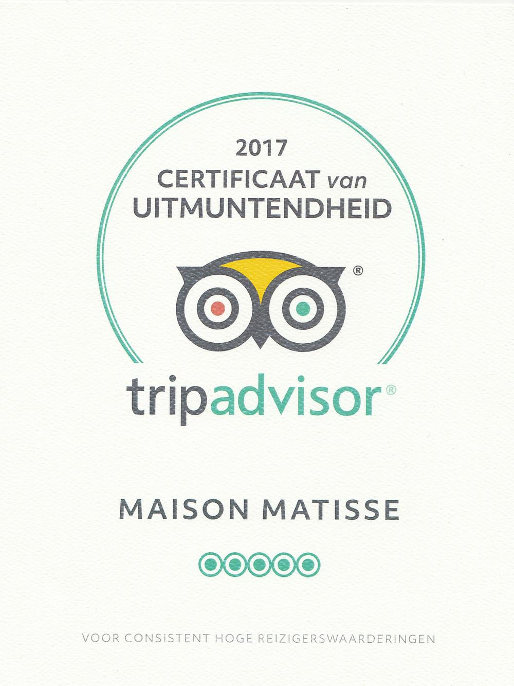 Certificaat Trip Advisor