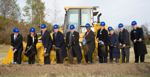 Groundbreaking at Cerner's New Trails campus November 12, 2014. From left to right: Mike Downing, Director MO Dept. of Economics Katie Chaffee, Cerner SVP of Worldwide Consulting Missouri Governor Jay Nixon Zane Burke, Cerner President Paul Gorup, Cerner Chief of Innovation and Cerner co-founder Kansas City, Missouri Mayor Sly James William Dunn, Sr., JE Dunn (Construction) Chris Wolfe, Cerner Director Trails Development