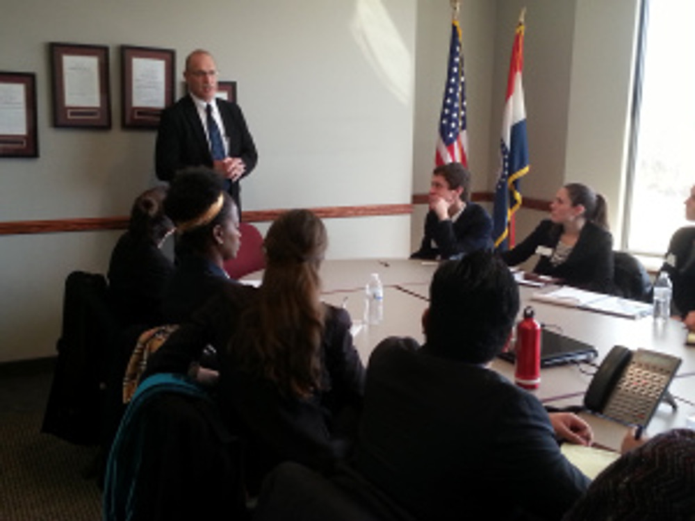 AIM president Ray McCarty addresses a group of Coro Fellows at AIM headquarters in Jefferson City on Monday, February 23, 2015