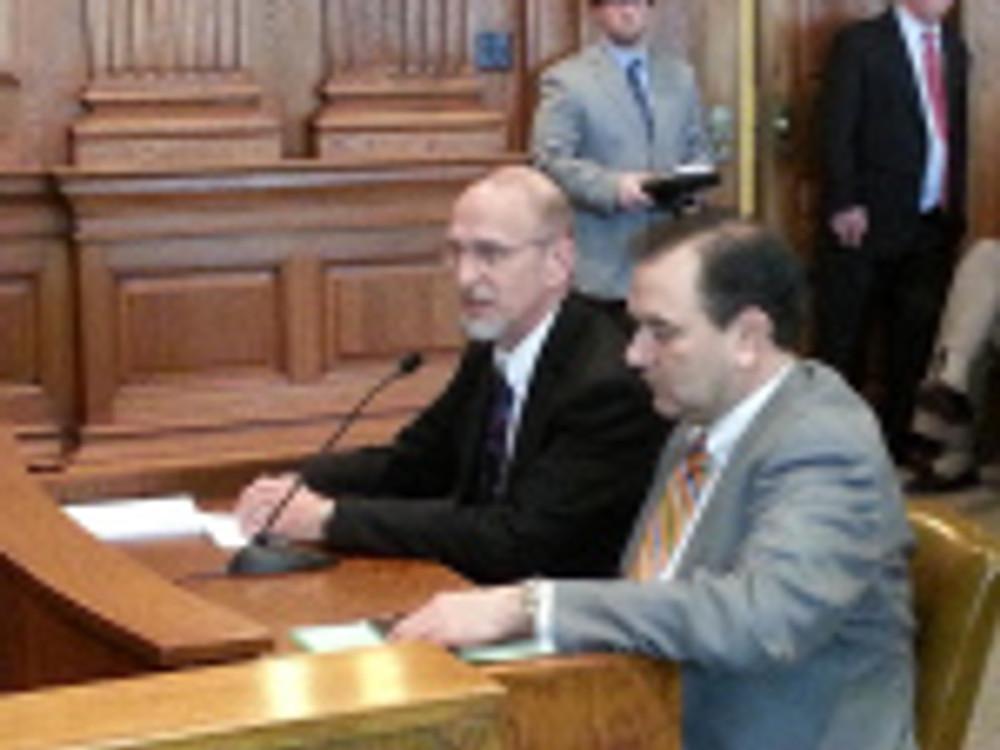 AIM president Ray McCarty testifies on behalf of the bill sponsored by Sen. Make Kehoe.