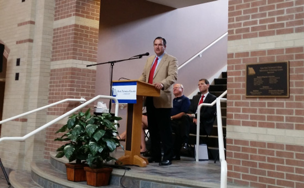 Senator Mike Kehoe (R-Jefferson City) addresses the audience at the renaming ceremony for the State Technical College of Missouri on July 1, 2014. Kehoe was the Senate sponsor of legislation that renamed the school.