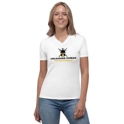 Women Bull White V-Neck