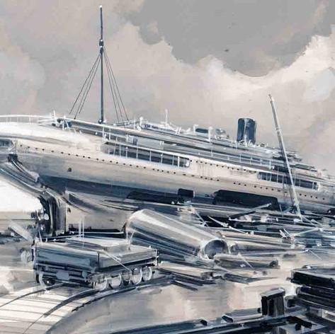 """Exposición """"Desguace de barcos"""" Saint-Nazaire Francia"""