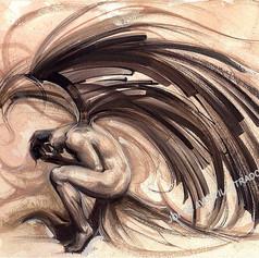 Ángel - Goache en papel amate / colección personal