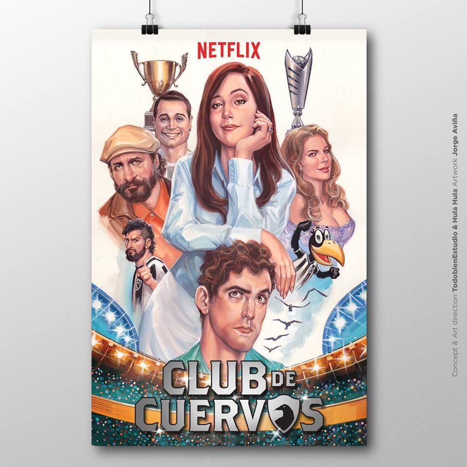 """Ilustración cartel """"Club de cuervos"""""""