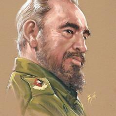 Retrato al goache - Fidel Castro