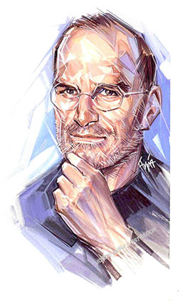 "Retrato ""Steve Jobs"" viñeta editorial"