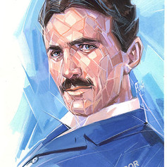 Retrato al goache - Nikola Tesla