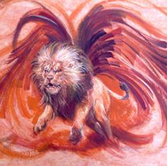 León alado - Goache en papel amate / colección personal