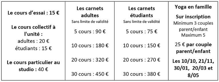 Tableau tarifs 2020 21 sans les enfants.