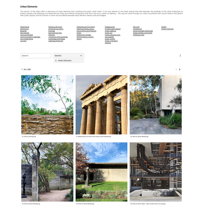 Index of Things: Working for a property company, we conceptualised, developed and built a database and website called the Index of Things. An archive of the urban and architectural design approaches that best capture and convey the principles, sensibilities and interests of the company, the index is a visual and written guide from which to trigger the imagination of design teams.