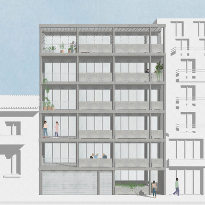 Matrozou: We explored the commercial and architectural feasibility for a six-storey, new-build residential apartment building in Koukaki, Athens. Client: MP.