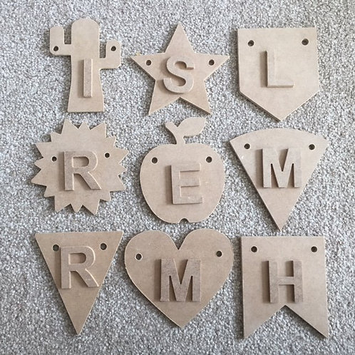 45mm (4.5cm tall) Letters to fit Bunting