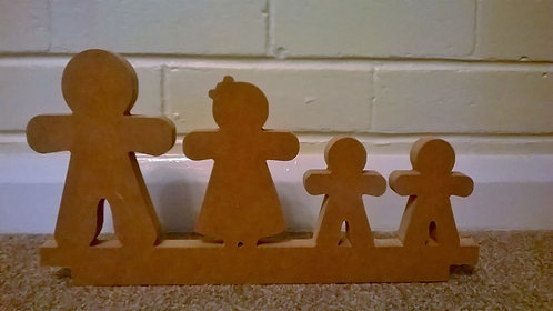 Joined Free Standing Gingerbread Family