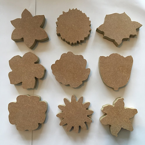 Chunky Flower Heads Set of 9