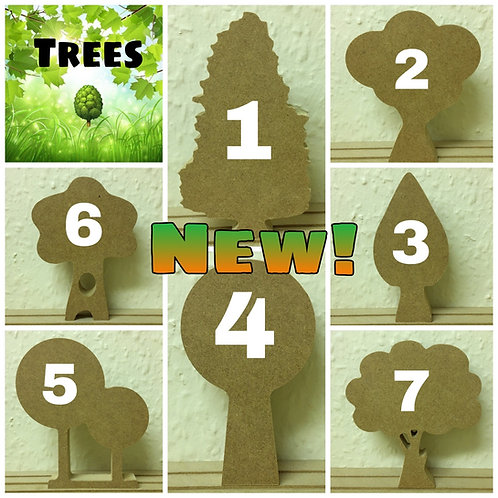 Set of 7 Free Standing Trees