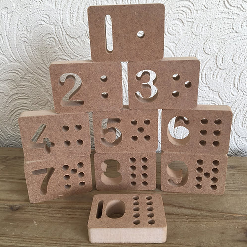 Set of 10 Number Blocks with holes