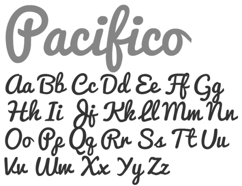 10cm tall Scripted Font words (Pacifico font)